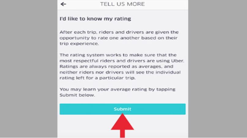 view your uber rating